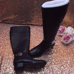 Michael Kors Black Leather Tall Boots 5M